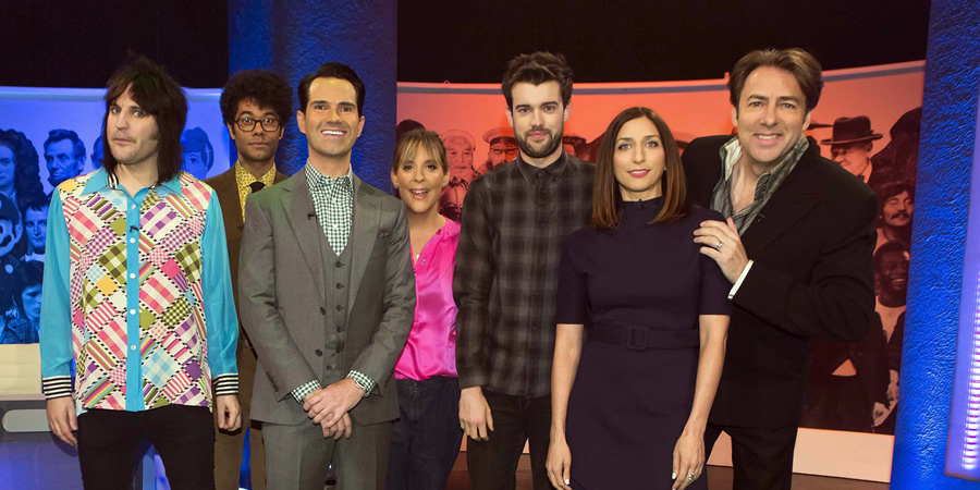 The Big Fat Quiz Of Everything. Image shows from L to R: Noel Fielding, Richard Ayoade, Jimmy Carr, Mel Giedroyc, Jack Whitehall, Chelsea Peretti, Jonathan Ross.