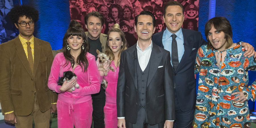 The Big Fat Quiz Of Everything. Image shows from L to R: Richard Ayoade, Aisling Bea, Jonathan Ross, Katherine Ryan, Jonathan Ross, David Walliams, Noel Fielding.