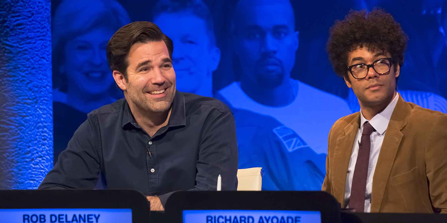 The Big Fat Quiz Of The Year. Image shows from L to R: Rob Delaney, Richard Ayoade.
