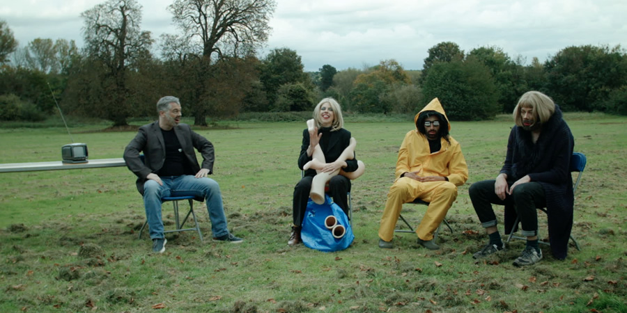 Big Field. Image shows from L to R: Steven Kynman, Ellie White, Richard David-Caine, Felix Hayes. Copyright: BBC.