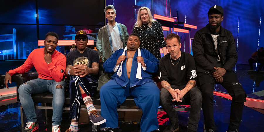 The Big Narstie Show. Image shows from L to R: Mo Gilligan, Dennis Rodman, Tan France, Big Narstie, Daisy May Cooper, Stephen Dorff, Unknown.