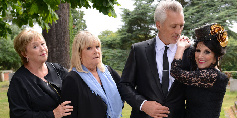 Birds Of A Feather. Image shows from L to R: Sharon Theodopolopodous (Pauline Quirke), Tracey Stubbs (Linda Robson), Vince (Martin Kemp), Dorien Green (Lesley Joseph). Copyright: Alomo Productions / Retort.