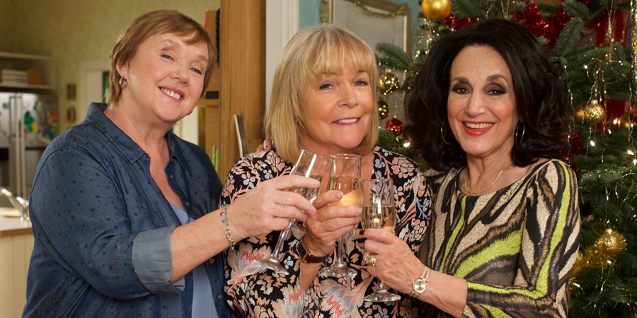 Birds Of A Feather. Image shows from L to R: Sharon Theodopolopodous (Pauline Quirke), Tracey Stubbs (Linda Robson), Dorien Green (Lesley Joseph).
