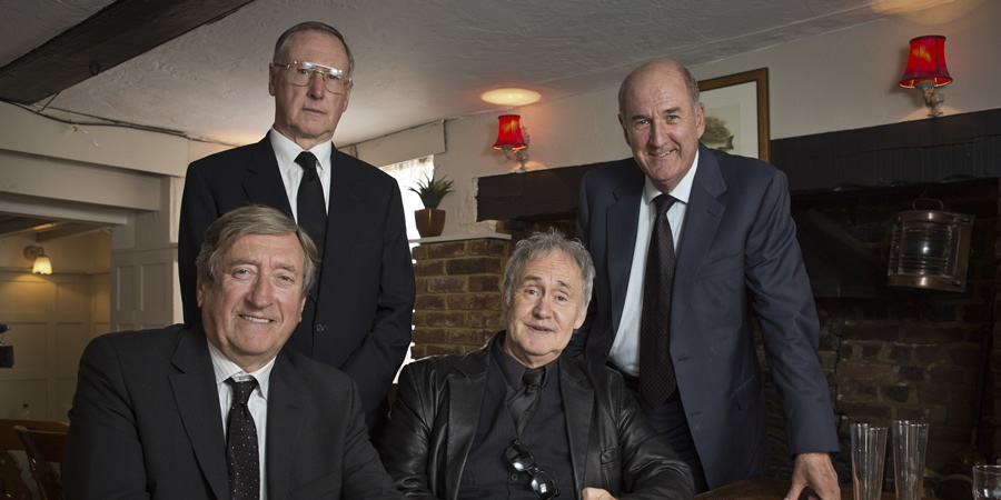 Boomers. Image shows from L to R: Alan (Philip Jackson), Trevor (James Smith), Mick (Nigel Planer), John (Russ Abbot). Copyright: Hat Trick Productions.