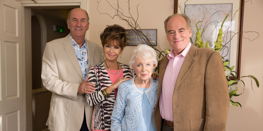 Boomers. Image shows from L to R: John (Russ Abbot), Maureen (Stephanie Beacham), Joan (June Whitfield), Roy (Geoffrey McGivern). Copyright: Hat Trick Productions.