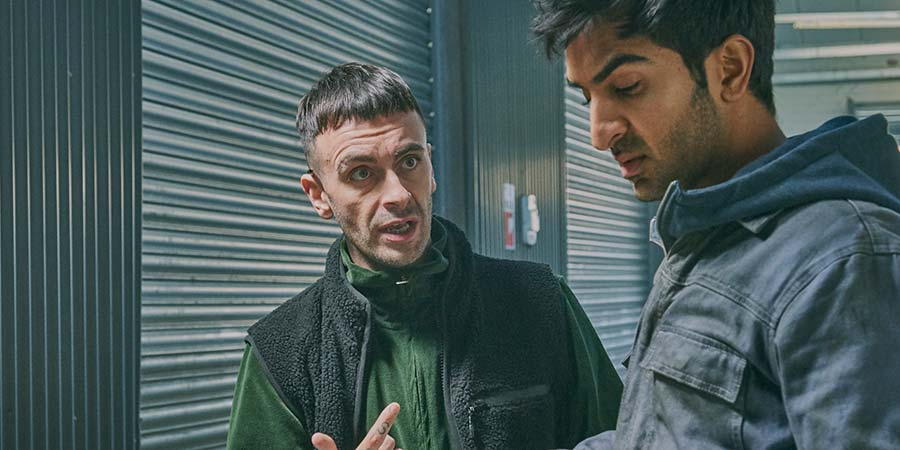 Brassic. Image shows from L to R: Vinnie (Joe Gilgun), JJ (Parth Thakerar). Copyright: Calamity Films.