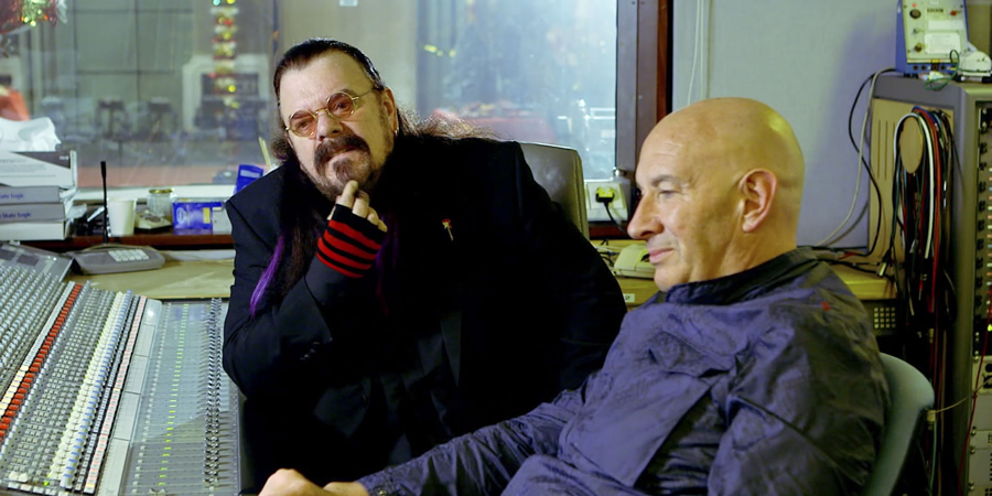 Brian Pern. Image shows from L to R: Roy Wood, Brian Pern (Simon Day). Copyright: BBC.