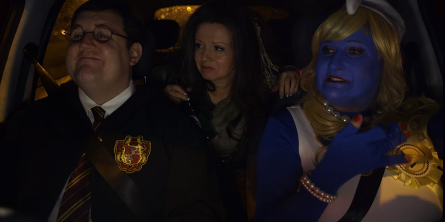Car Share. Image shows from L to R: John Redmond (Peter Kay), Kayleigh Kitson (Sian Gibson), Elsie (Conleth Hill). Copyright: Goodnight Vienna Productions.