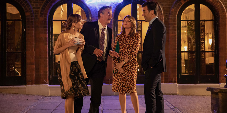 Catastrophe. Image shows from L to R: Mrs Cohen (Tonya Cornelisse), James Cohen (Chris Noth), Sharon (Sharon Horgan), Rob (Rob Delaney). Copyright: Avalon Television.