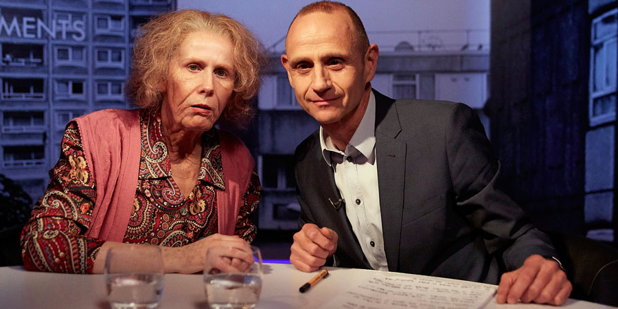 Catherine Tate's Nan. Image shows from L to R: Nan (Catherine Tate), Evan Davis. Copyright: Tiger Aspect Productions.