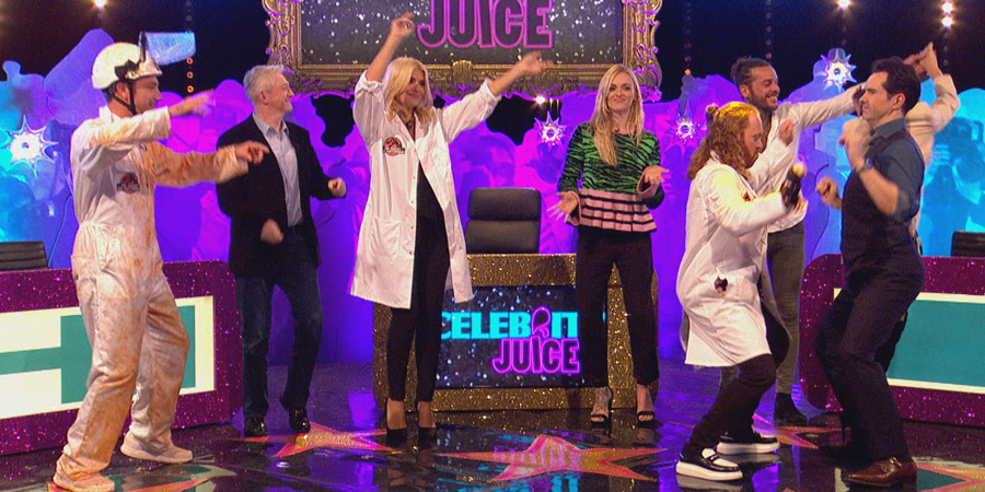 Celebrity Juice. Image shows from L to R: Gino D'Acampo, Louis Walsh, Holly Willoughby, Fearne Cotton, Leigh Francis, Pete Wicks, Jimmy Carr. Copyright: Talkback.