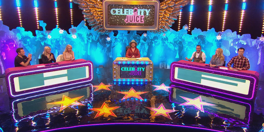 Celebrity Juice. Image shows from L to R: Gino D'Acampo, Holly Willoughby, Pamela Anderson, Leigh Francis, Will Mellor, Fearne Cotton, Jimmy Carr.