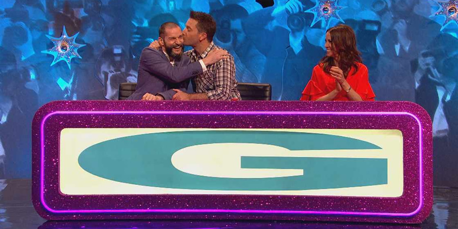 Celebrity Juice. Image shows from L to R: Fred Sirieix, Gino D'Acampo, Andrea McLean.
