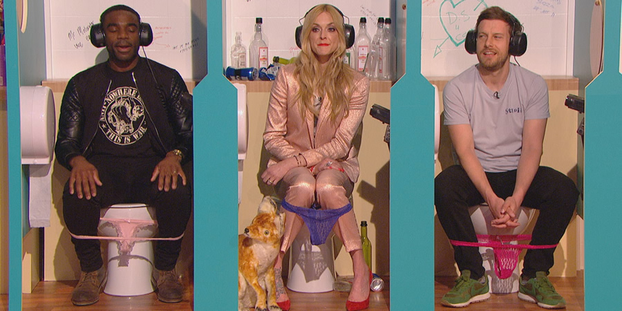 Celebrity Juice. Image shows from L to R: Ore Oduba, Fearne Cotton, Chris Ramsey.