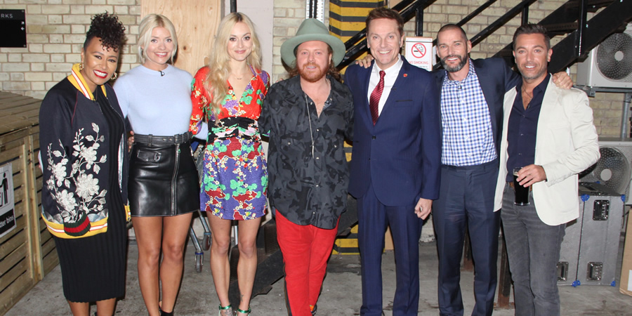 Celebrity Juice. Image shows from L to R: Emeli Sandé, Holly Willoughby, Fearne Cotton, Leigh Francis, Brian Conley, Fred Sirieix, Gino D'Acampo.