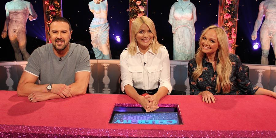Celebrity Juice. Image shows from L to R: Paddy McGuinness, Holly Willoughby, Emma Bunton. Copyright: Talkback.