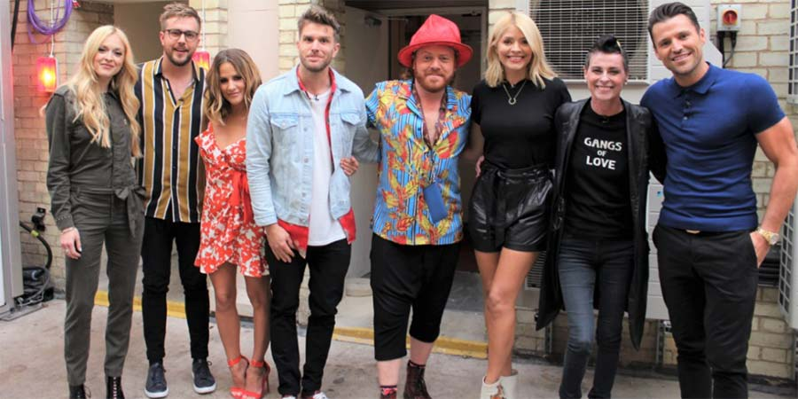 Celebrity Juice. Image shows from L to R: Fearne Cotton, Iain Stirling, Caroline Flack, Joel Dommett, Leigh Francis, Holly Willoughby, Lisa Stansfield, Mark Wright.