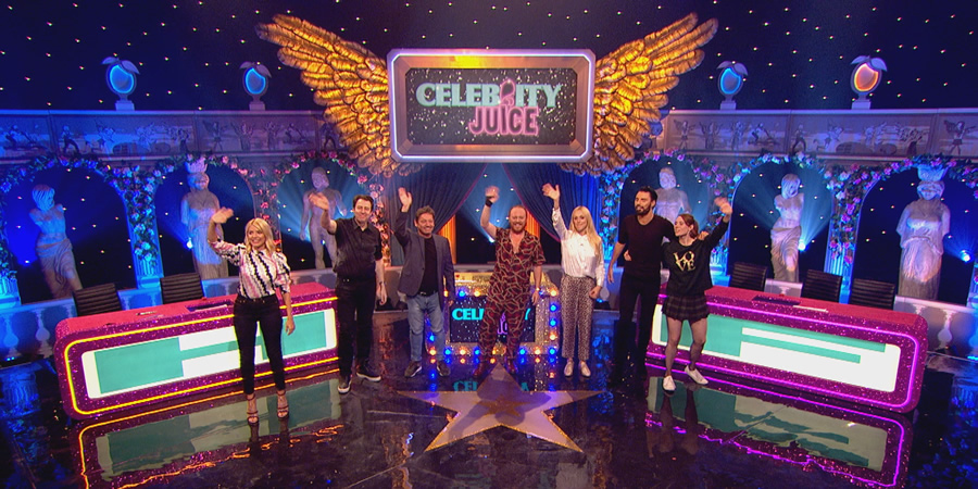 Celebrity Juice. Image shows from L to R: Holly Willoughby, Jonathan Ross, Sid Owen, Leigh Francis, Fearne Cotton, Rylan Clark-Neal, Kate Nash.
