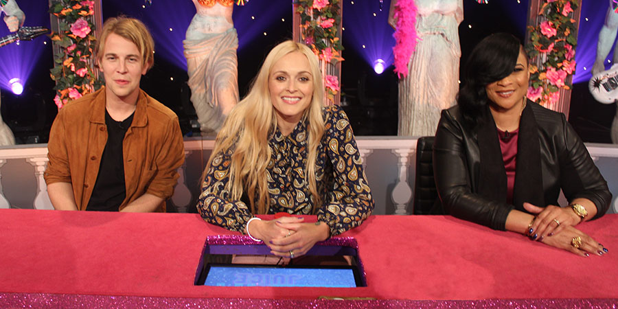Celebrity Juice. Image shows from L to R: Tom Odell, Fearne Cotton, Louise Gabrielle Bobb. Copyright: Talkback.
