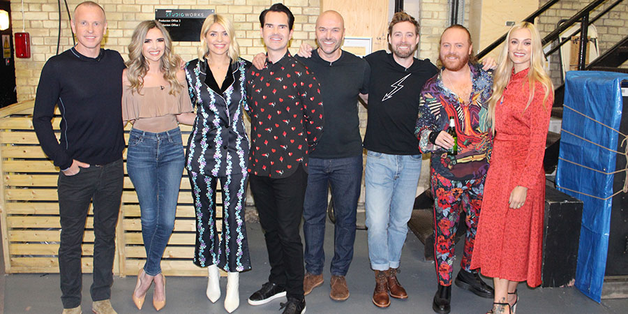 Celebrity Juice. Image shows from L to R: Tim Lovejoy, Nadine Coyle, Holly Willoughby, Jimmy Carr, Simon Rimmer, Ricky Wilson, Leigh Francis, Fearne Cotton.