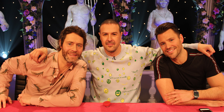 Celebrity Juice. Image shows from L to R: Howard Donald, Paddy McGuinness, Mark Wright.