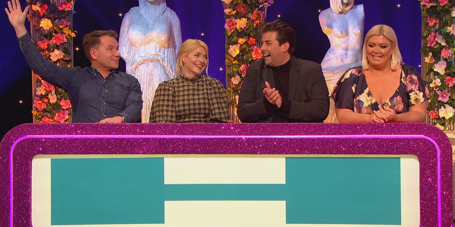 Celebrity Juice. Image shows from L to R: Richard Arnold, Holly Willoughby, James Argent, Gemma Collins.