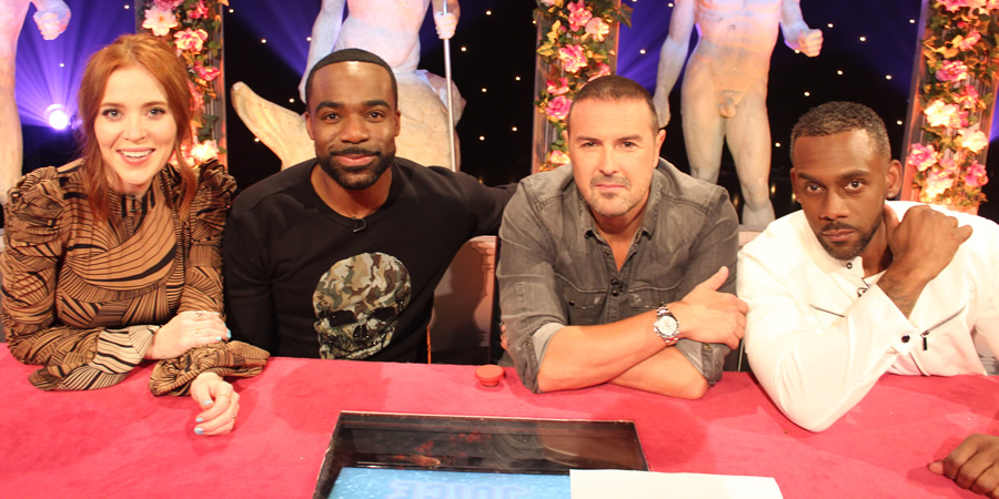Celebrity Juice. Image shows from L to R: Angela Scanlon, Ore Oduba, Paddy McGuinness, Richard Blackwood.