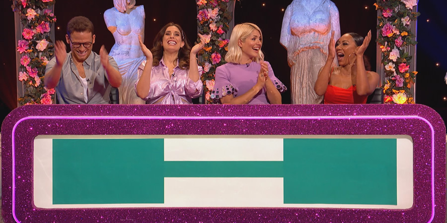 Celebrity Juice. Image shows from L to R: Joe Swash, Stacey Solomon, Holly Willoughby, Melanie Brown.