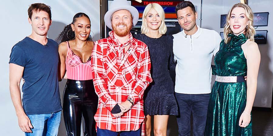 Celebrity Juice. Image shows from L to R: James Blunt, Melanie Brown, Leigh Francis, Holly Willoughby, Mark Wright, Katherine Ryan. Copyright: Talkback.