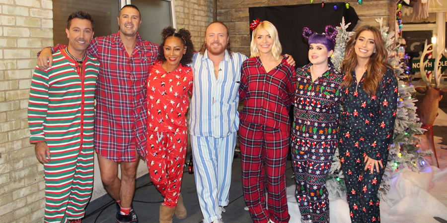 Celebrity Juice. Image shows from L to R: Gino D'Acampo, Paddy McGuinness, Melanie Brown, Leigh Francis, Holly Willoughby, Kelly Osbourne, Stacey Solomon.