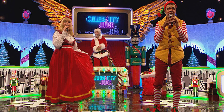 Celebrity Juice. Image shows from L to R: Paloma Faith, Leigh Francis, Chris Kamara. Copyright: Talkback.