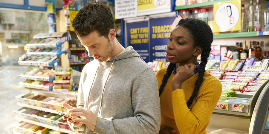 Chewing Gum. Image shows from L to R: Connor Jones (Robert Lonsdale), Tracey Gordon (Michaela Coel). Copyright: Retort.