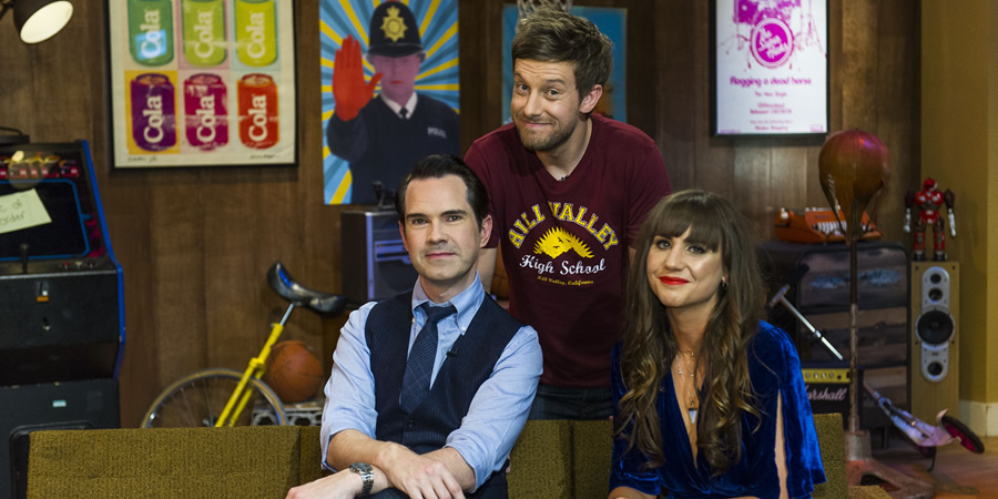 The Chris Ramsey Show. Image shows from L to R: Jimmy Carr, Chris Ramsey, Natasia Demetriou. Copyright: Avalon Television.