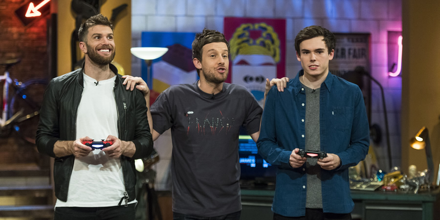 The Chris Ramsey Show. Image shows from L to R: Joel Dommett, Chris Ramsey, Rhys James. Copyright: Avalon Television.