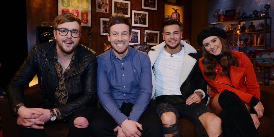 The Chris Ramsey Show. Image shows from L to R: Iain Stirling, Chris Ramsey, Chris Hughes, Brooke Vincent. Copyright: Avalon Television.