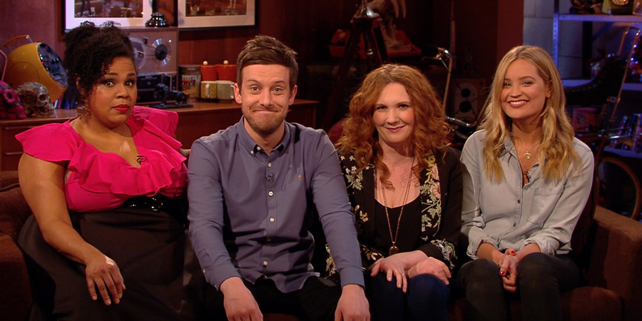 The Chris Ramsey Show. Image shows from L to R: Desiree Burch, Chris Ramsey, Jennie McAlpine, Laura Whitmore. Copyright: Avalon Television.