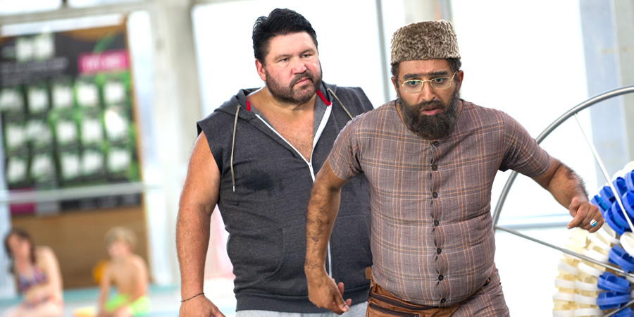 Citizen Khan. Image shows from L to R: Doug (Ricky Grover), Mr Khan (Adil Ray). Copyright: BBC.