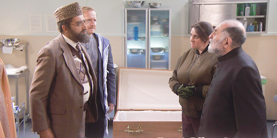 Citizen Khan. Image shows from L to R: Mr Khan (Adil Ray), Dave (Matthew Cottle), Pinky (Julia Nelson), Mr Gul (Renu Setna). Copyright: BBC.