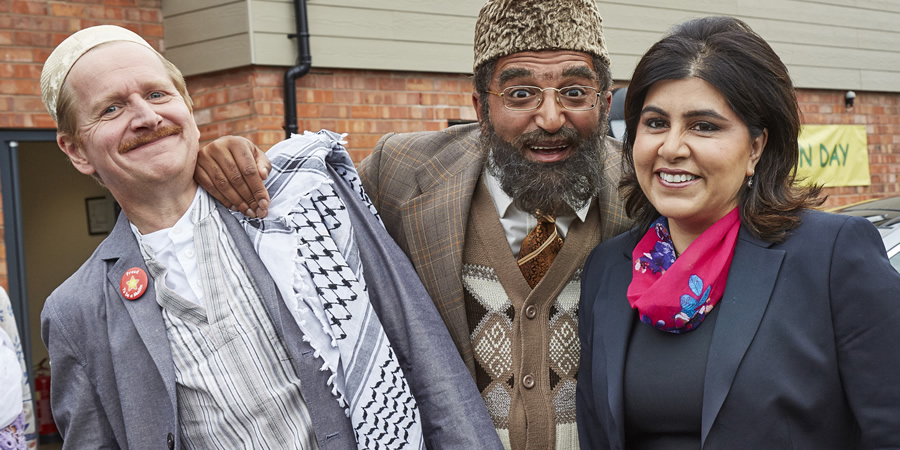 Citizen Khan. Image shows from L to R: Dave (Matthew Cottle), Mr Khan (Adil Ray), Sayeeda Warsi. Copyright: BBC.