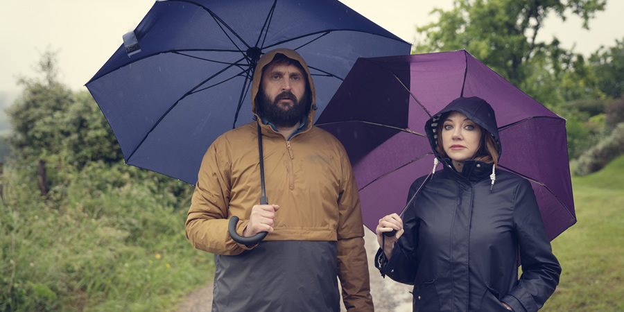 The Cockfields. Image shows from L to R: Simon (Joe Wilkinson), Donna (Diane Morgan).