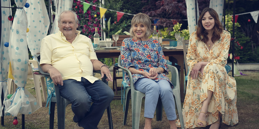 The Cockfields. Image shows from L to R: Ray (Bobby Ball), Sue (Sue Johnston), Donna (Diane Morgan).