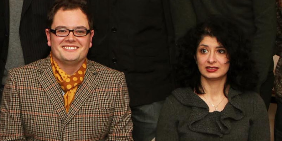 Channel 4's Comedy Gala. Image shows from L to R: Alan Carr, Shappi Khorsandi.