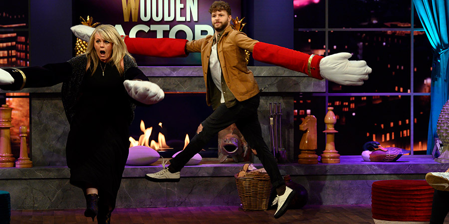 Comedy Game Night. Image shows from L to R: Sally Lindsay, Jay McGuiness. Copyright: Monkey Kingdom.