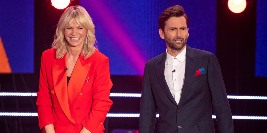 Comic Relief. Image shows from L to R: Zoe Ball, David Tennant. Copyright: BBC.