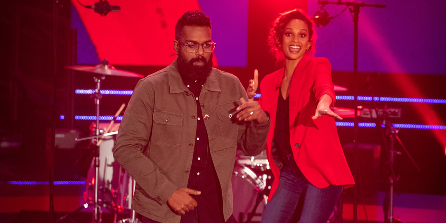 Comic Relief. Image shows from L to R: Romesh Ranganathan, Alesha Dixon. Copyright: BBC.