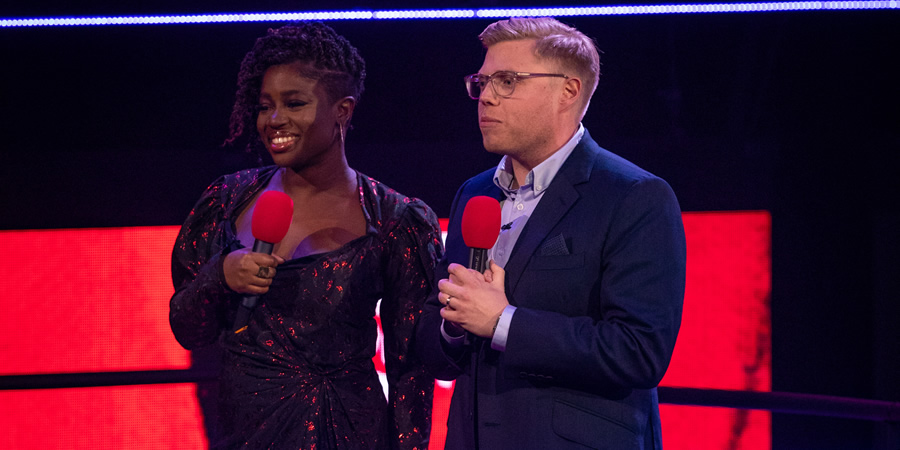 Comic Relief. Image shows from L to R: Maya Jama, Rob Beckett. Copyright: BBC.