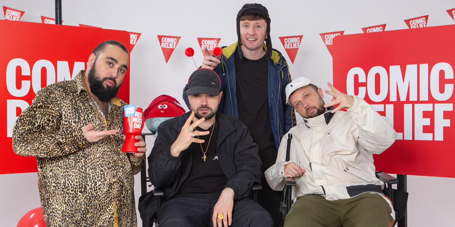 Comic Relief. Image shows from L to R: Chabuddy G (Asim Chaudhry), Grindah (Allan Mustafa), Steves (Steve Stamp), Beats (Hugo Chegwin). Copyright: BBC.