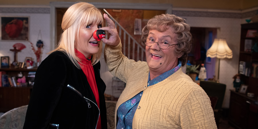 Comic Relief. Image shows from L to R: Cathy Brown (Jennifer Gibney), Agnes Brown (Brendan O'Carroll). Copyright: BBC.