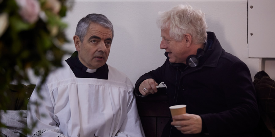 Comic Relief. Image shows from L to R: Father Gerald (Rowan Atkinson), Richard Curtis. Copyright: BBC.