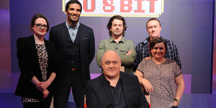 Dara O Briain's Go 8 Bit. Image shows from L to R: Ellie Gibson, David James, Dara O Briain, Sam Pamphilon, Steve McNeil, Susan Calman. Copyright: DLT Entertainment Ltd..